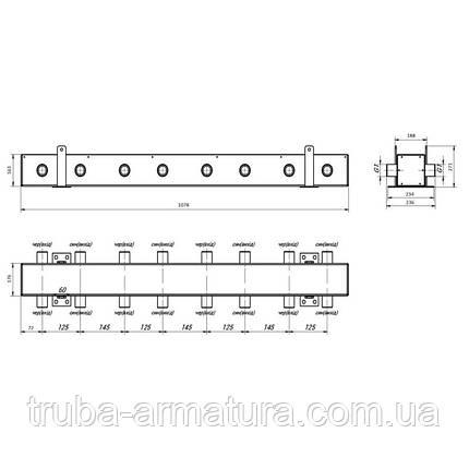 """Колектор розподільчий Thermo Alliance 250 кВт 2"""", 7 виходів, фото 2"""