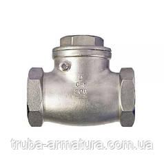 Обратный клапан поворотный муфтовый нержавеющий, Ду 40 / тарелка-нж сталь 304 / PN16