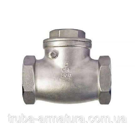 Обратный клапан поворотный муфтовый нержавеющий, Ду 25 / тарелка-нж сталь 316 / PN16, фото 2