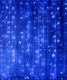 Электрическая гирлянда Штора - ЛИНЗА 8 мм 300 LED 3 м * 2 м, синий, фото 2