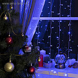Электрическая гирлянда Штора - ЛИНЗА 8 мм 300 LED 3 м * 2 м, синий, фото 3