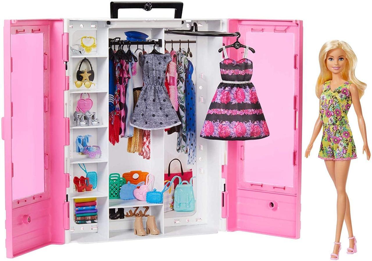 Barbie Кукла Барби и модный шкаф розовыйс одеждой и обувью Fashionistas Гардероб GBK12