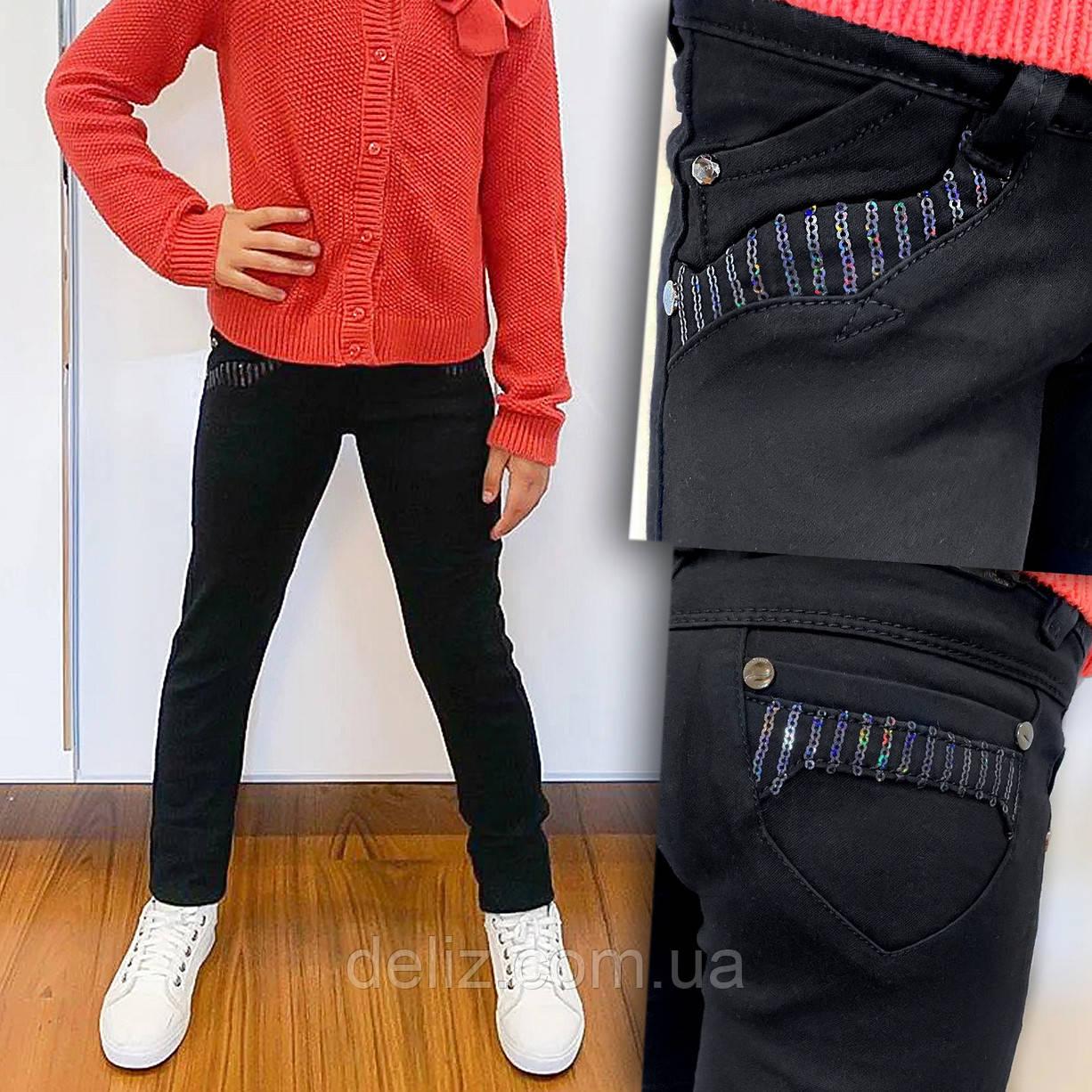 Черные школьные брюки для девочки Lafeidina Jeans 718. Размер 21