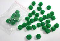 Зелені штучні снежки1.5см(1уп=40шт)(помпони) декоративні новорічні, фото 1