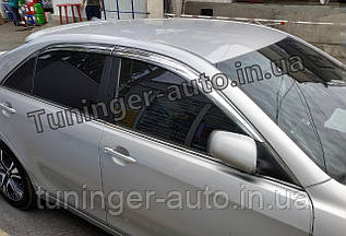 Дефлекторы окон, ветровики (хромированные) Toyota Camry 40 2006-2011 (Autoclover/Корея)