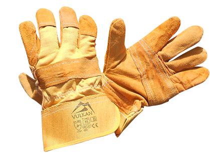 Перчатки краги Vulkan желтые (замш + ХБ), фото 2