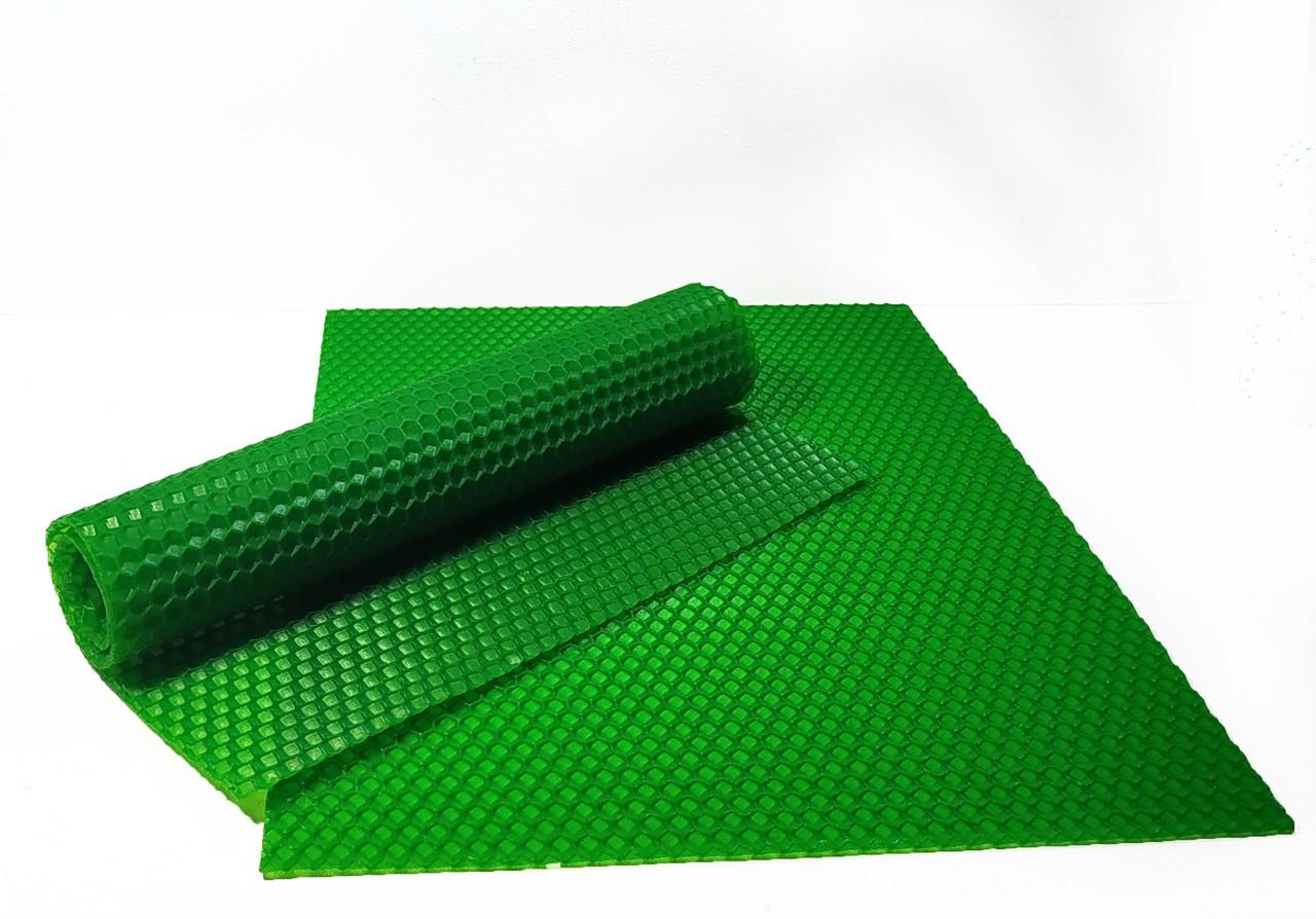 Цветная вощина зеленая. Цена за лист 20х26 см