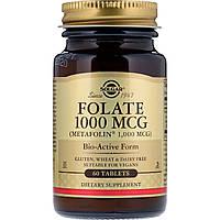 Фолиевая Кислота (В9), Метафолин, Solgar, Folate as Metafolin, 1,000 мкг,  60 таблеток