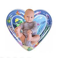 """Развивающий надувной водный аква-коврик для детей """"Сердце"""" для ребенка, с водой и рыбками"""