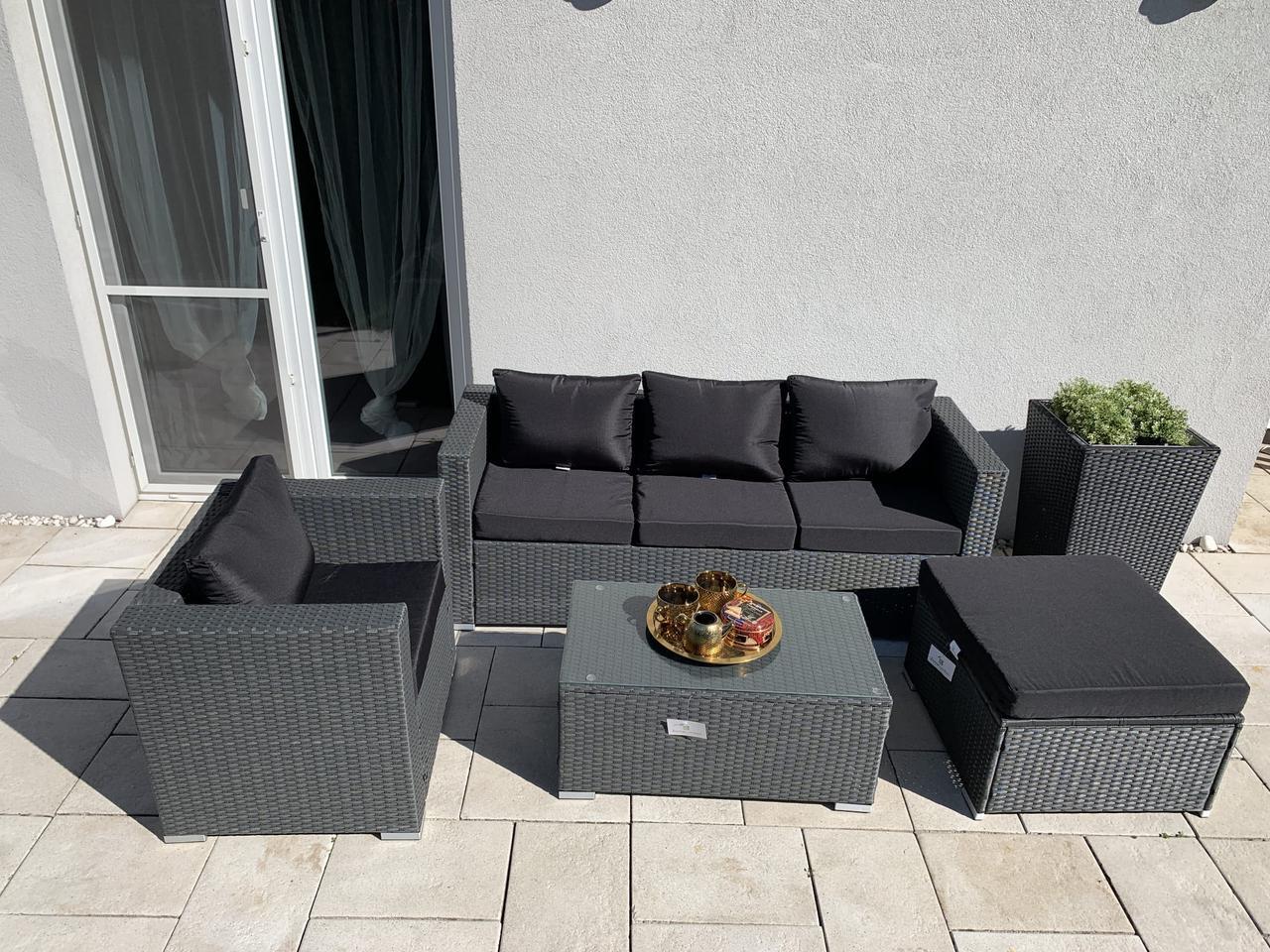 Комплект уличной мебели из ротанга BORNEO диван, кресло, пуф + столик!