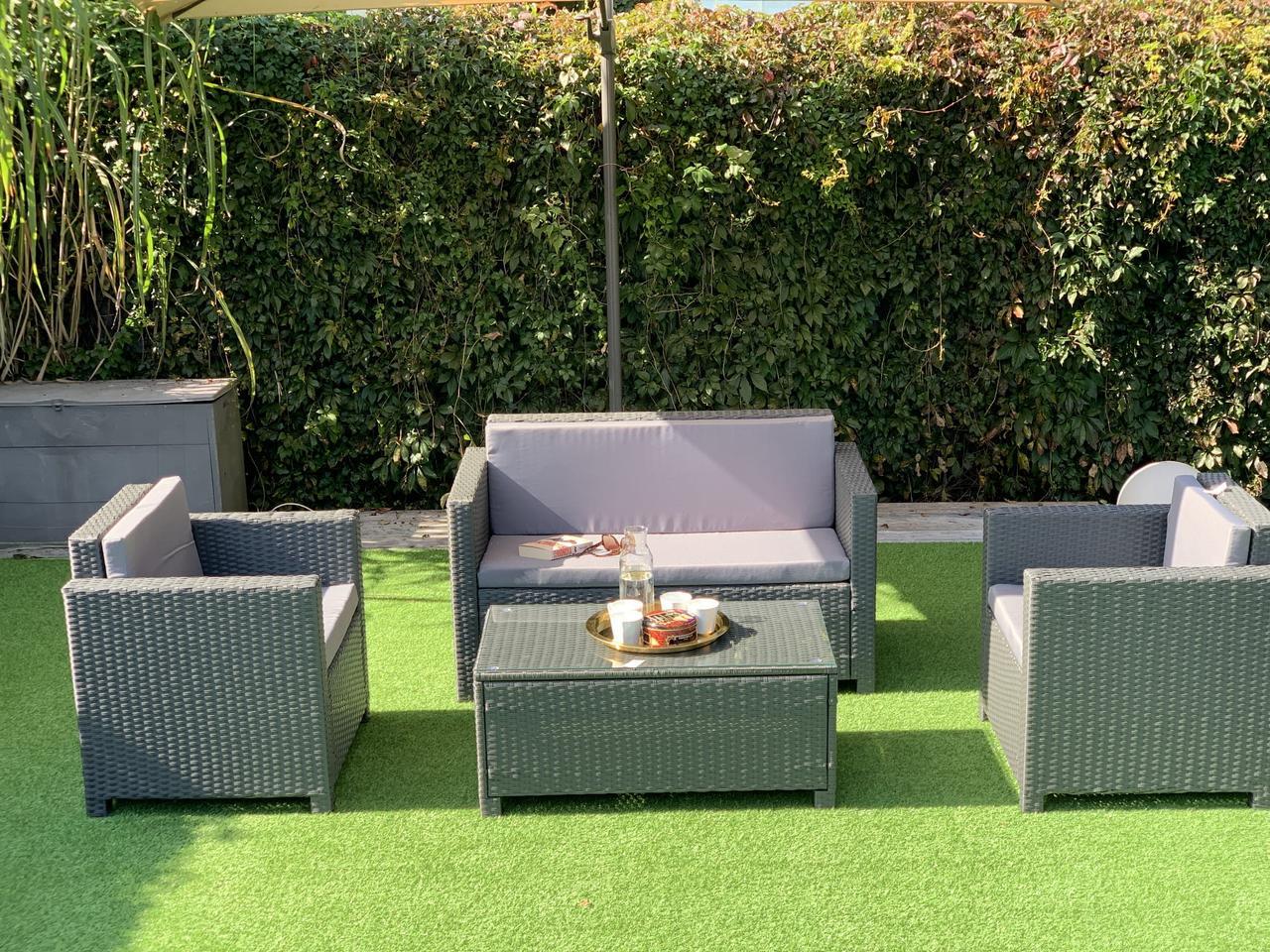 Набор уличной мебели из ротанга NICEA диван, кресло, пуф + столик!