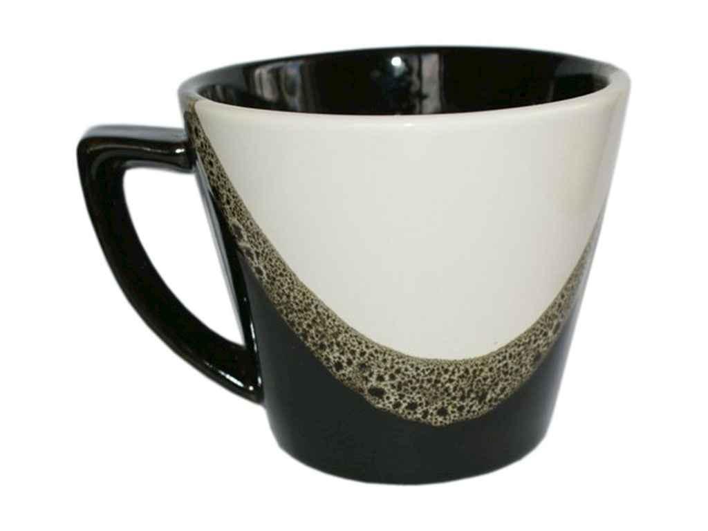 Чашка керамическая Полигенько Капля черно-белая 350 мл упаковка 6 шт