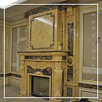 Двухэтажный каминный портал из испанского мрамора Crema Valencia: цена от производителя., фото 1