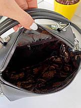 Жіноча сумка You Love з двома ремінцями чорна СЮЛ21, фото 3