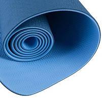 Килимок World Sport для йоги та фітнесу 2слоя, TPE, 6мм, синій, фото 2