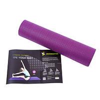 Коврик для йоги и фитнеса сиреневый TPE+TC, 1слой, Iron Master 173x61x0.6см, фото 2