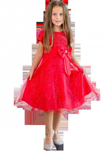 Нарядное красное платье  с коротким рукавом для девочек