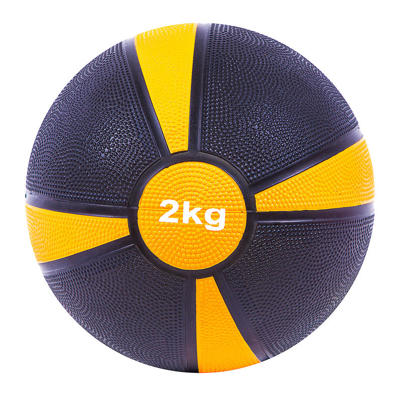 Мяч медицинский World Sport (медбол) твёрдый 2кг D=19 см, черно-желтый