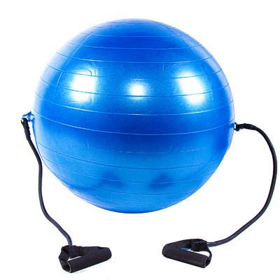 М'яч для фітнесу з еспандером 65см синій Iron Master