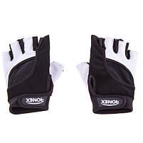 Перчатки атлетические черно-белые Ronex RX-05, размер M, фото 2
