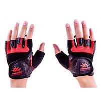 Перчатки атлетические черно-красные CrownFit RX-04, размер M, фото 2