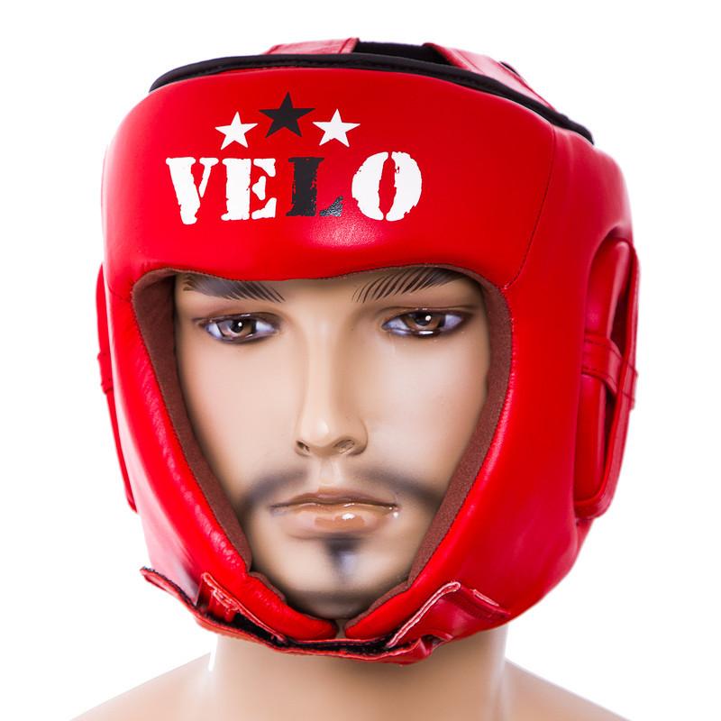 Шолом боксерський червоний Velo AIBA, шкіра, розмір XL