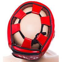 Шолом боксерський червоний Velo AIBA, шкіра, розмір XL, фото 2