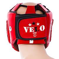 Шолом боксерський червоний Velo AIBA, шкіра, розмір XL, фото 4