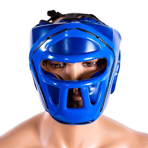Шолом для боксу синій з пластикової маскою Venum, розмір L