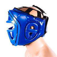 Шолом для боксу синій з пластикової маскою Venum, розмір L, фото 3