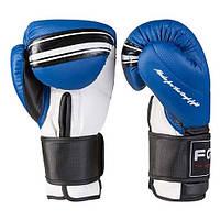 Боксерские перчатки FGT синие 12oz, Cristal 2815, фото 3