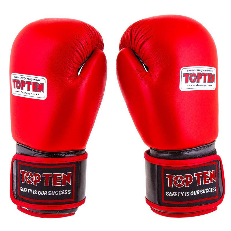 Боксерские перчатки кожаные красные 12oz Top Ten