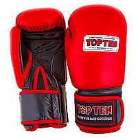 Боксерские перчатки кожаные красные 12oz Top Ten, фото 3