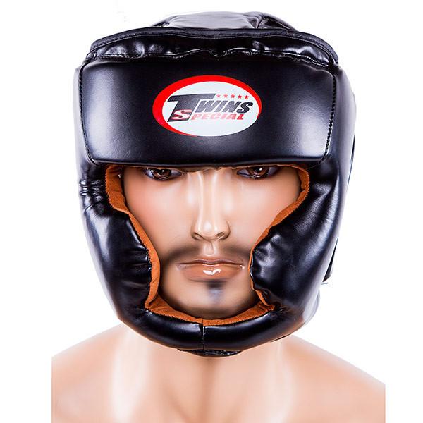 Боксерский шлем закрытый Twins S черный (TW475-BLS)