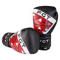 Боксерські рукавички FGT чорно-червоні 10oz, Cristal 2518, фото 2
