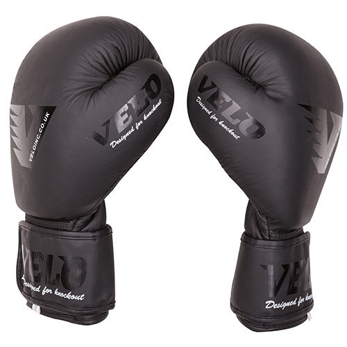 Боксерські рукавички шкіряні чорні 10oz Velo Mate