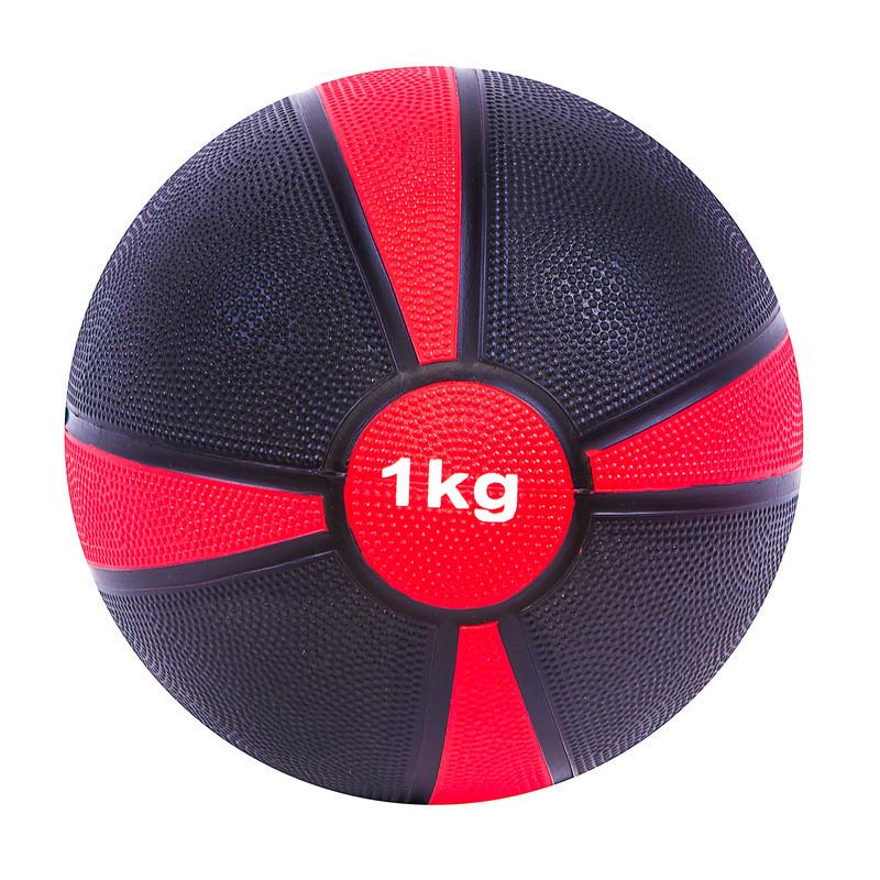 М'яч медичний World Sport (медбол) твердий 1кг D=19 см, чорно-червоний