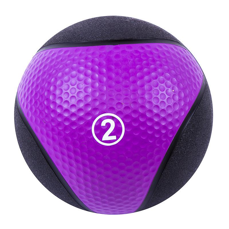 Мяч медицинский (медбол) твёрдый 2кг D=22 см, Iron Master фиолетово-черный