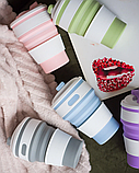 Складная силиконовая термо-чашка с крышкой 350мл Collapsible (GIPS), термос, термокружка, Складная чашка термо, фото 7