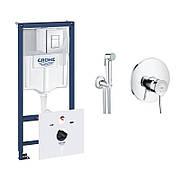 Комплект Grohe инсталляция Rapid SL 38827000 + набор для гигиенического душа со смесителем BauClassic 2904800S