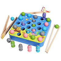 Деревянная игрушка Игра-рыбалка с шариками «У моря», развивающие товары для детей.
