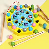 Деревянная игрушка Игра-рыбалка с шариками «Моторика», развивающие товары для детей.