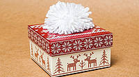 """Подарочная коробочка """"Новогодняя шапка"""" красный М0003-о11, фото 1"""