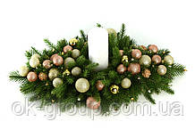 Подсвечник рождественский новогодний литая хвоя новогодние шары и бусинки