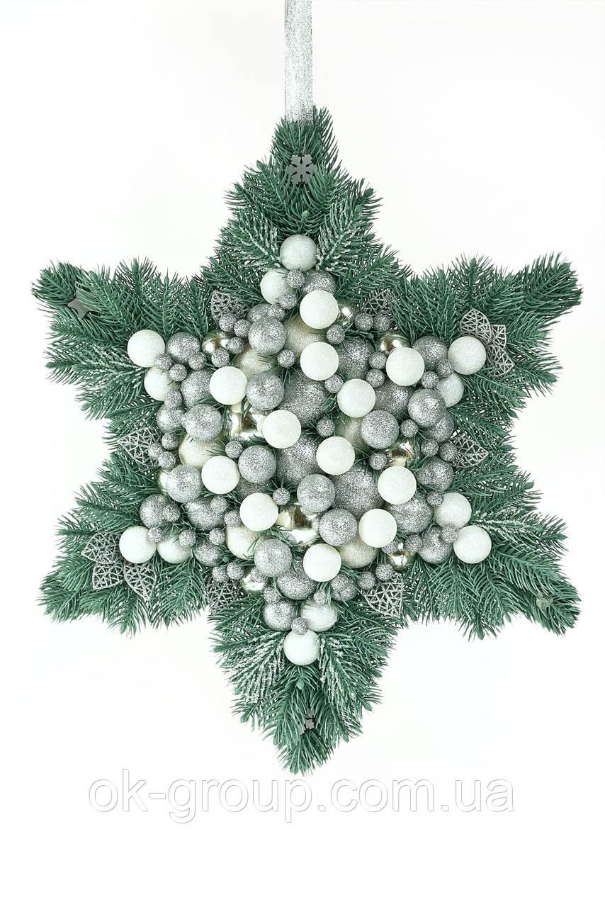 Декорация новогодняя литая хвоя новогодние шары и бусинки