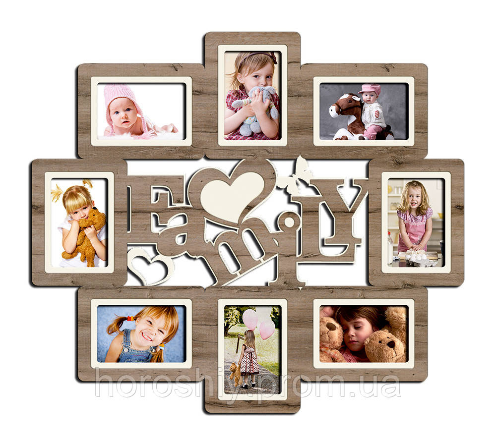 Фоторамка коллаж family настенная на несколько фотографий для всей семьи - фото 1