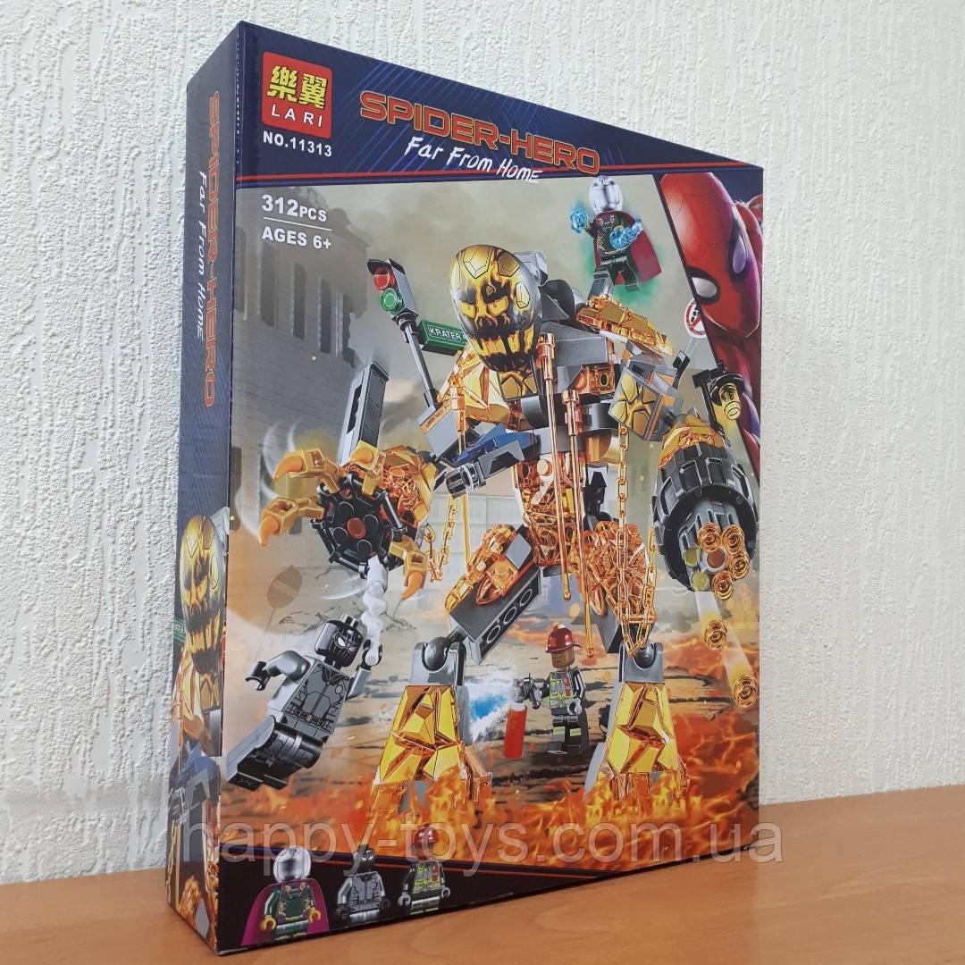 Конструктор Человек Паук Lari 11313 Супер Герои Бой с Расплавленным Человеком 312 деталей