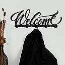 Вешалка настенная Glozis H-078 50см х 18 см Welcome Black, фото 3