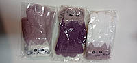 Детские перчатки однотонные на микро-флисе Кошка девочка, фото 1