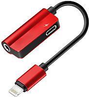 Bluetooth переходник Lightning 2 в 1, Audio 3.5 мм - Lightning MY032 Red